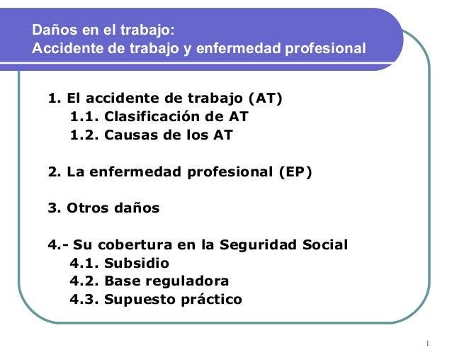 1 Daños en el trabajo: Accidente de trabajo y enfermedad profesional 1. El accidente de trabajo (AT) 1.1. Clasificación de...