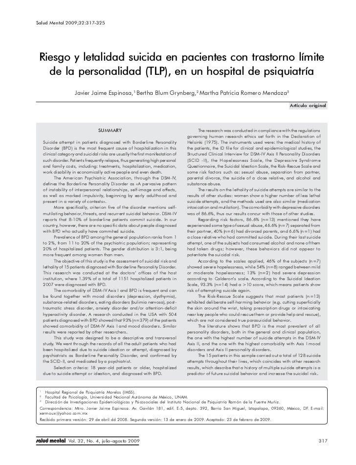 Salud Mental 2009;32:317-325                          Riesgo y letalidad suicida en pacientes con trastorno límite de la p...