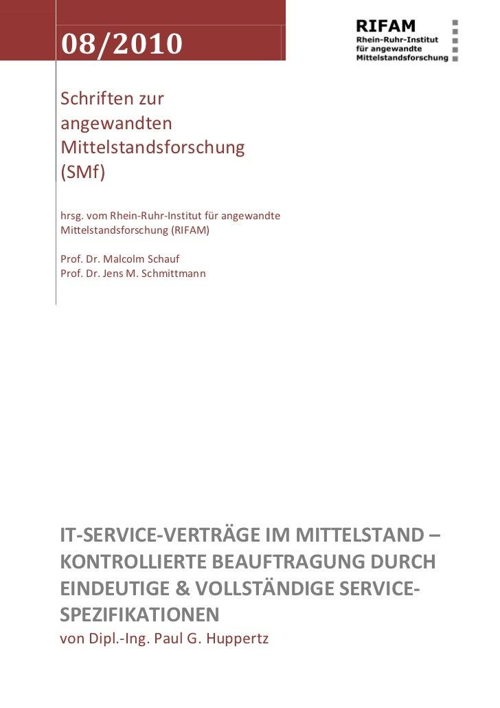 08/2010 Schriften zur angewandten Mittelstandsforschung (SMf)  hrsg. vom Rhein-Ruhr-Institut für angewandte Mittelstandsfo...
