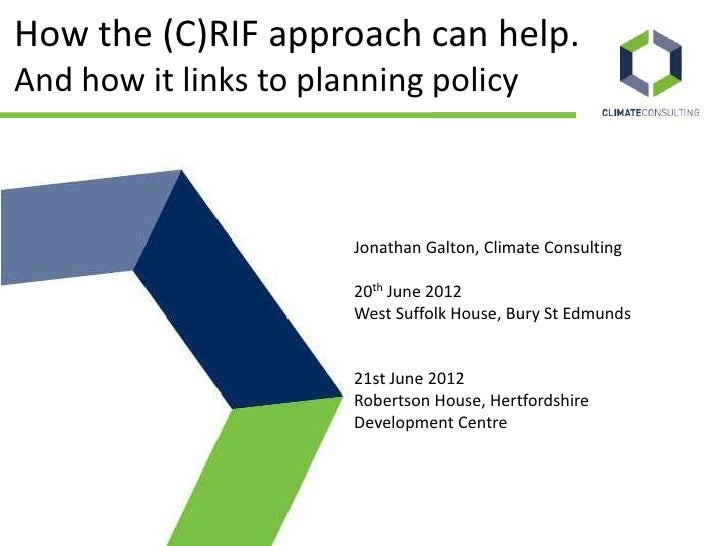 RIF Climate Consulting - How the RIF approach can help and how it links to planning policycan help and how it links to planning policy