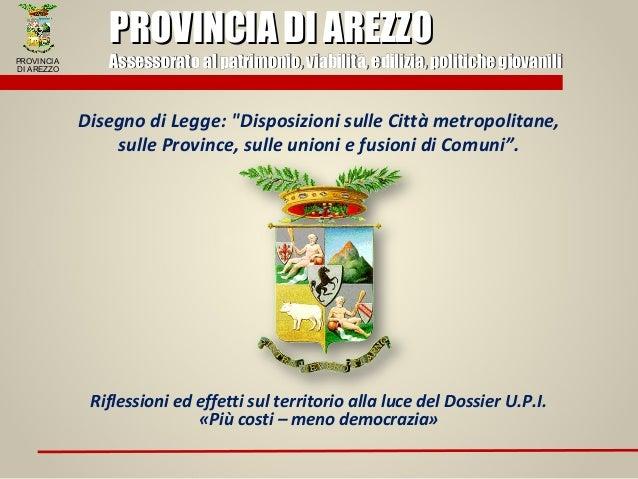 Riflessioni su DDL 1542 - Provincia di Arezzo
