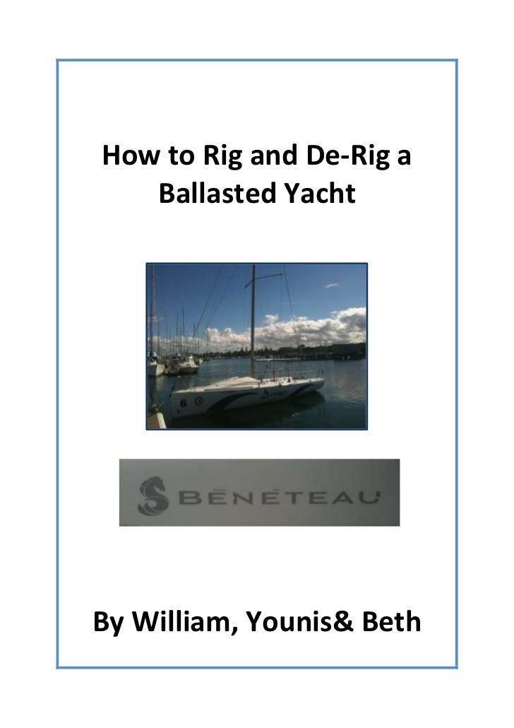 Rigging and derigging a keel boat instruaction assingment