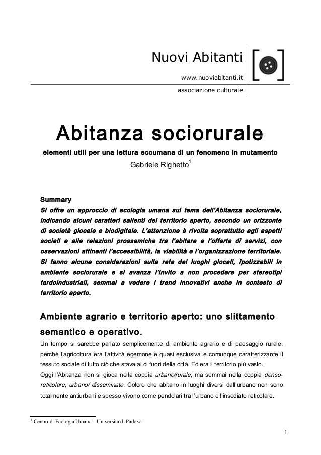 Nuovi Abitanti www.nuoviabitanti.it associazione culturale Abitanza sociorurale elementi utili per una lettura ecoumana di...
