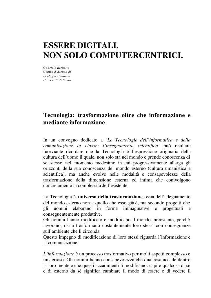 Righetto.Essere digitali non Computercentrici
