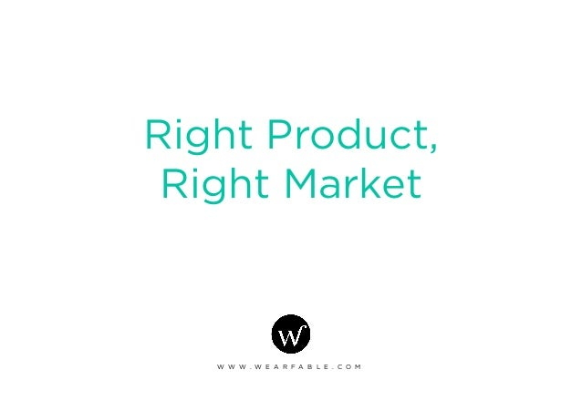 Right Product, Right Market W W W . W E A R F A B L E . C O M