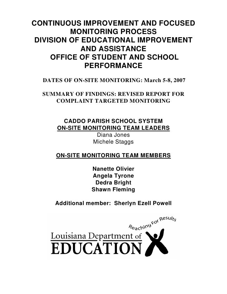 CONTINUOUS IMPROVEMENT AND FOCUSED           MONITORING PROCESS  DIVISION OF EDUCATIONAL IMPROVEMENT              AND ASSI...