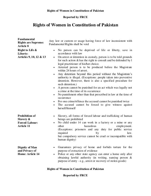 Rights of women in constitution of pakistan, reported by frce