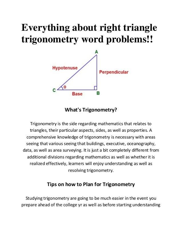 about right triangletrigonometry word problems!!What's Trigonometry ...