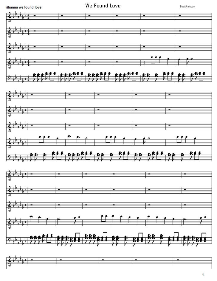 Rihanna - We found love piano sheet music
