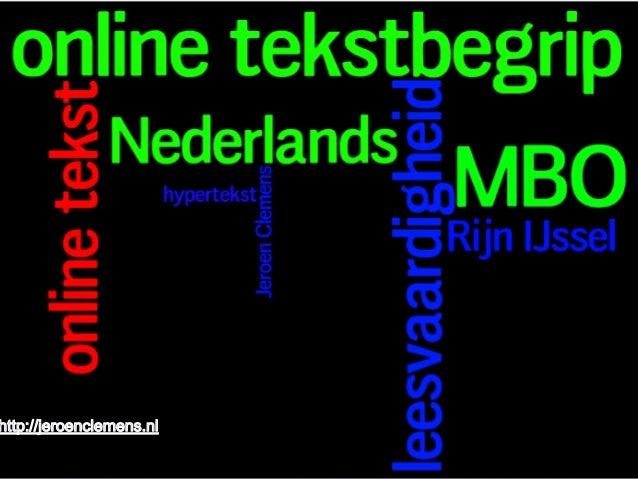 MBO Conferentie Online Tekstbegrip bij Nederlands Rijn IJssel 21/11/13