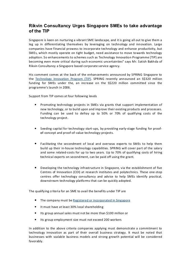 Rikvin consultancy urges singapore sm es to take advantage of the tip