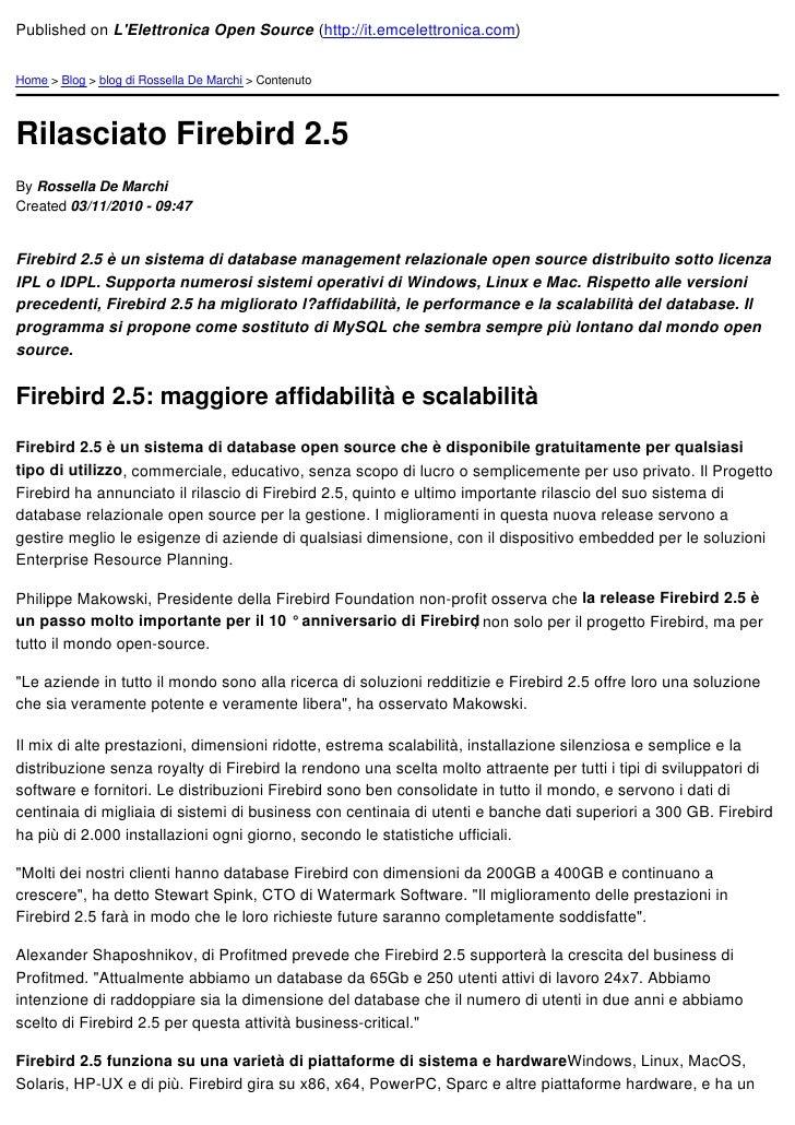 Published on LElettronica Open Source (http://it.emcelettronica.com)Home > Blog > blog di Rossella De Marchi > ContenutoRi...
