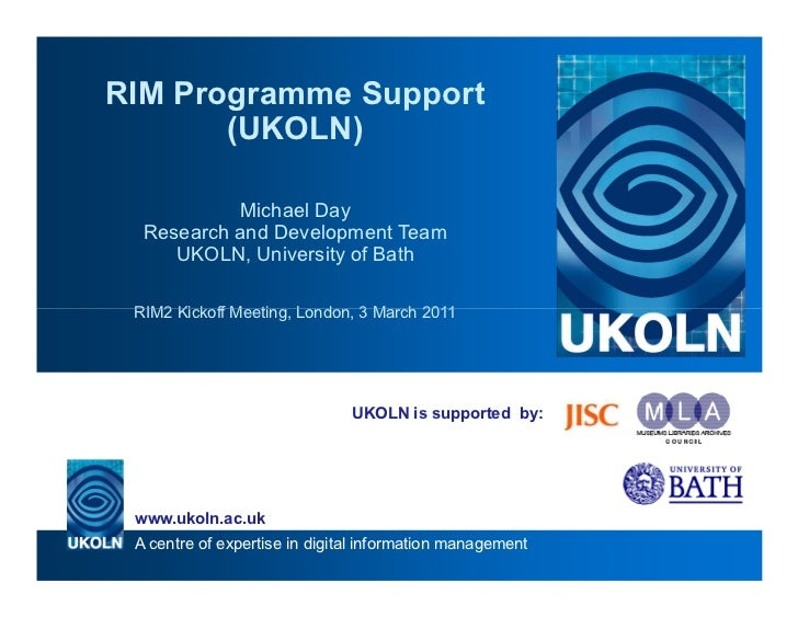 UKOLN Programme Support for the JISC Research Information Management Programme