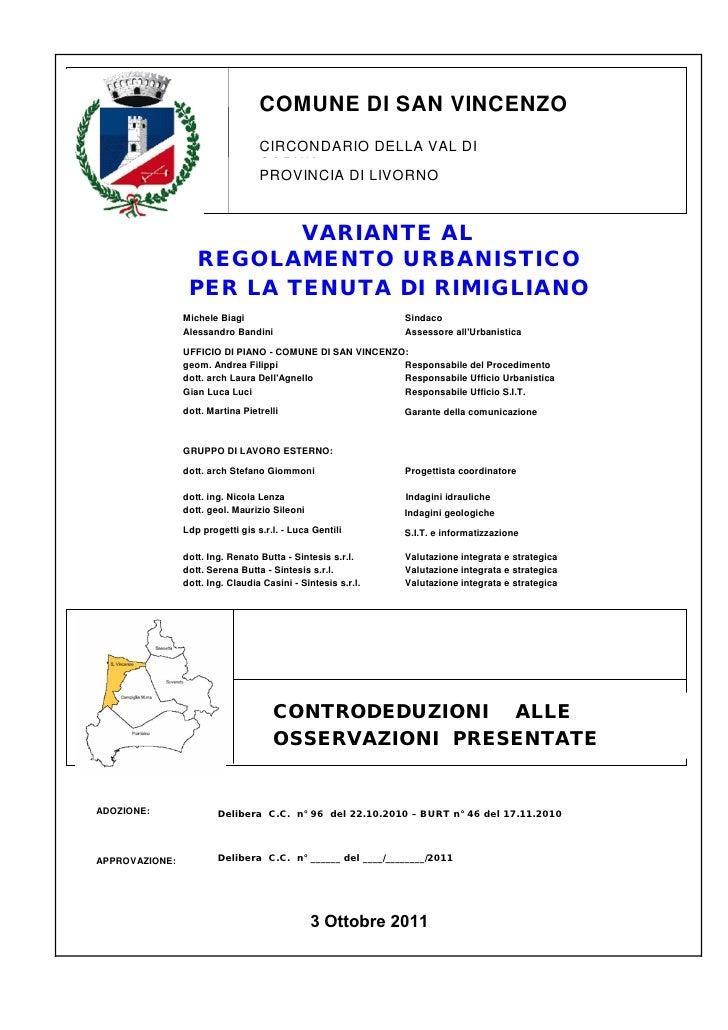 Rimigliano: Controdeduzioni integrale alle osservazioni presentate 03.10.2011