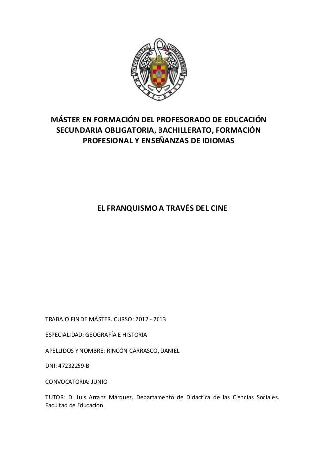 MÁSTER EN FORMACIÓN DEL PROFESORADO DE EDUCACIÓN SECUNDARIA OBLIGATORIA, BACHILLERATO, FORMACIÓN PROFESIONAL Y ENSEÑANZAS ...