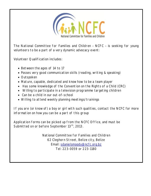 The National Committee for Families and Children – NCFC – is seeking for young volunteers to be a part of a very dynamic a...