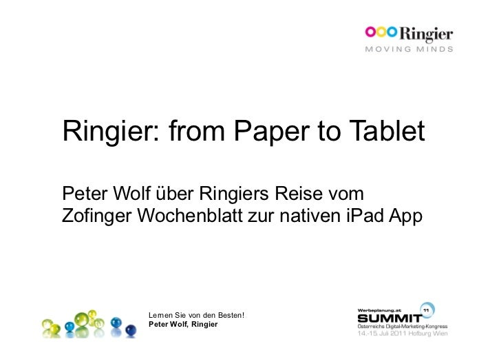 14.07.2011 T3 Fokus Publisher Best Practices Peter Wolf Ringier