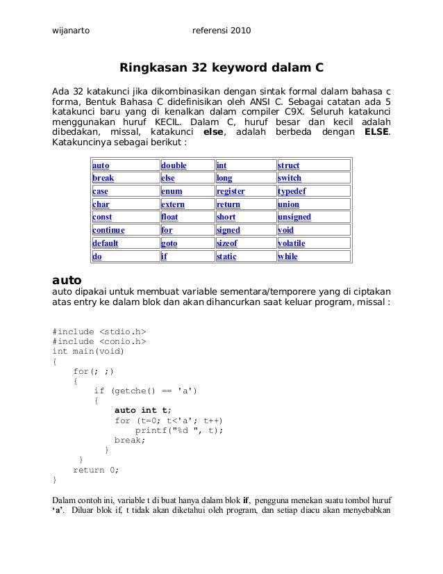 wijanarto  referensi 2010  Ringkasan 32 keyword dalam C Ada 32 katakunci jika dikombinasikan dengan sintak formal dalam ba...