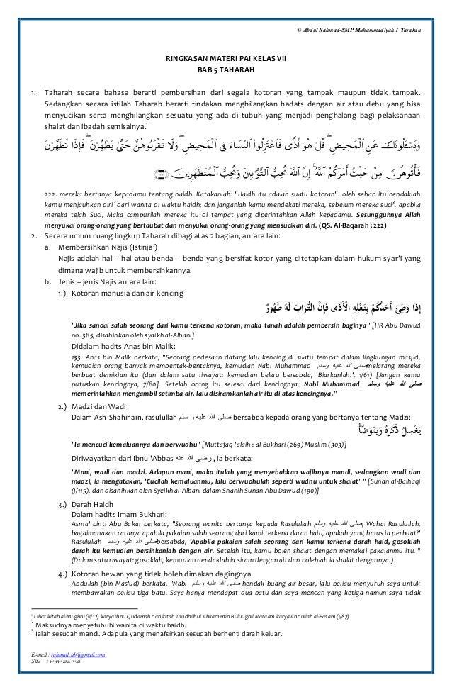 © Abdul Rahmad-SMP Muhammadiyah 1 Tarakan  RINGKASAN MATERI PAI KELAS VII BAB 5 TAHARAH 1.  Taharah secara bahasa berarti ...