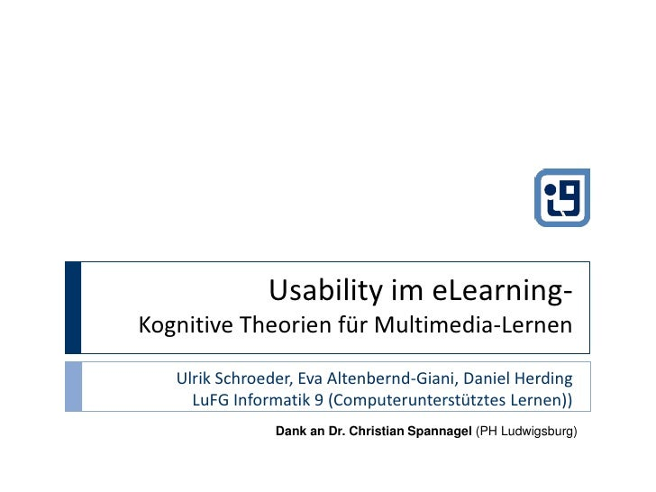 Usability in eLearning - Cognitive Theories