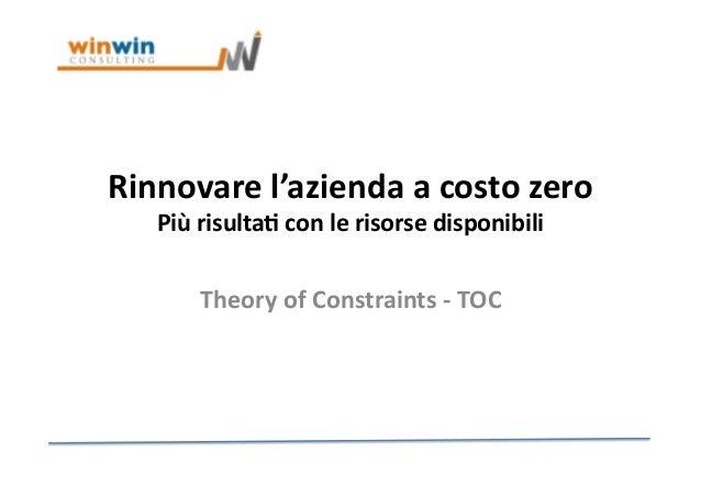 Rinnovare  l'azienda  a  costo  zero   Più  risulta4  con  le  risorse  disponibili   Theory  of ...