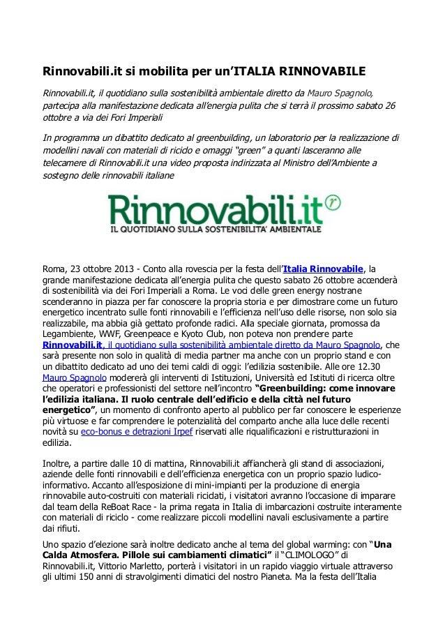 Rinnovabili.it si mobilita per un'ITALIA RINNOVABILE Rinnovabili.it, il quotidiano sulla sostenibilità ambientale diretto ...