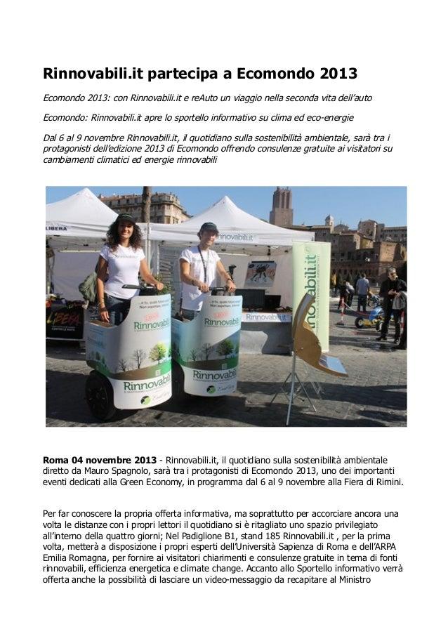Ecomondo 2013: Rinnovabili.it e reAuto un viaggio nella seconda vita dell'auto