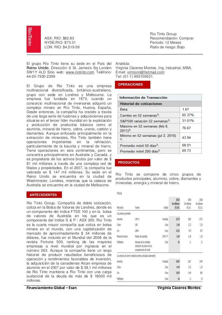 Rio Tinto Group           ASX: RIO: $82.83                                                 Recomendación: Comprar         ...