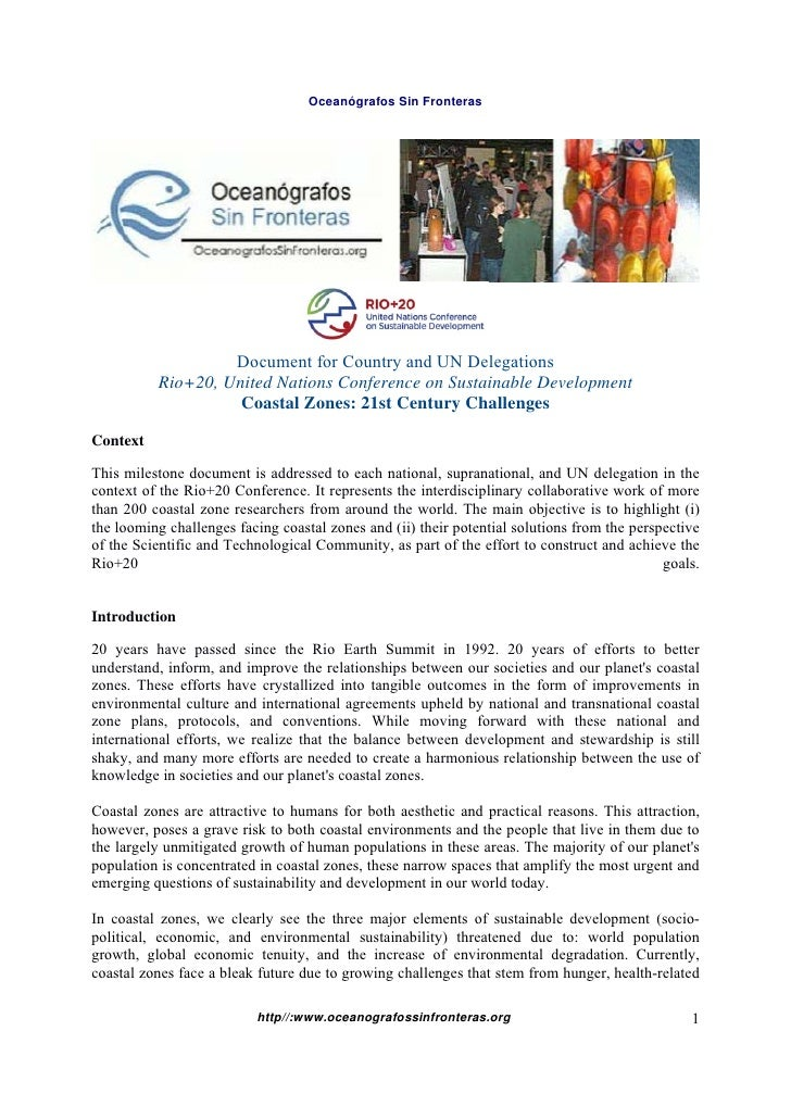 Oceanógrafos Sin Fronteras                   Document for Country and UN Delegations          Rio+20, United Nations Confe...