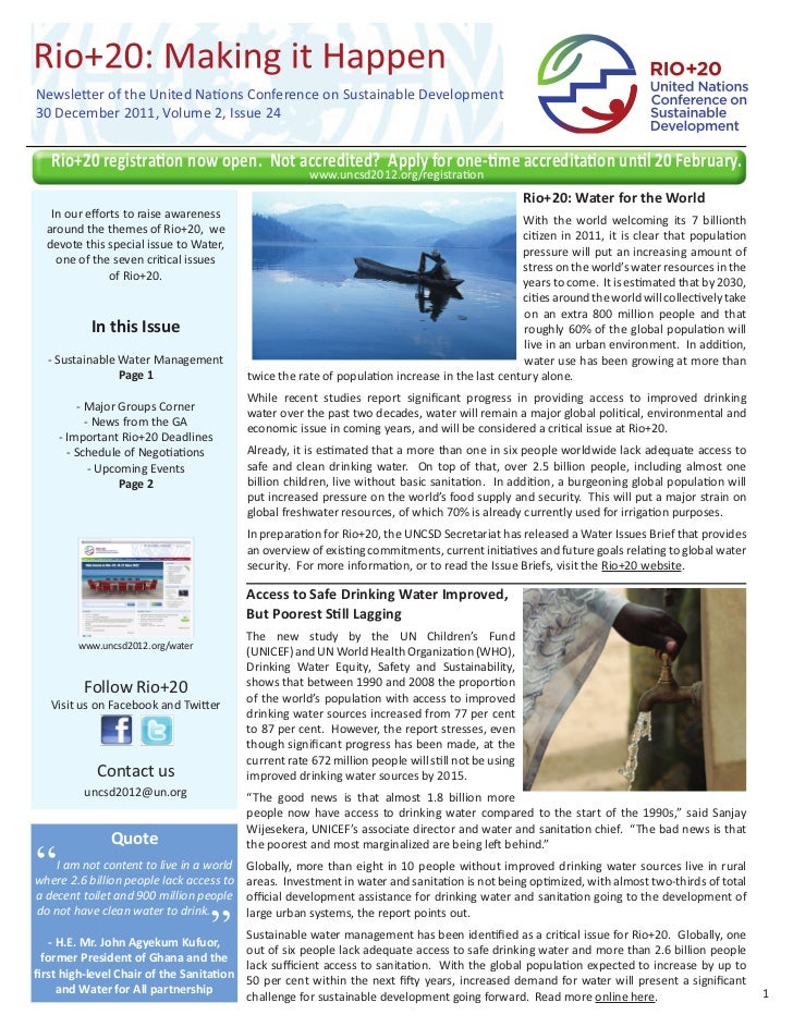 Newsletter of the United Nations Conference on Sustainable Development30 December 2011, Volume 2, Issue 24   Rio+20 regist...