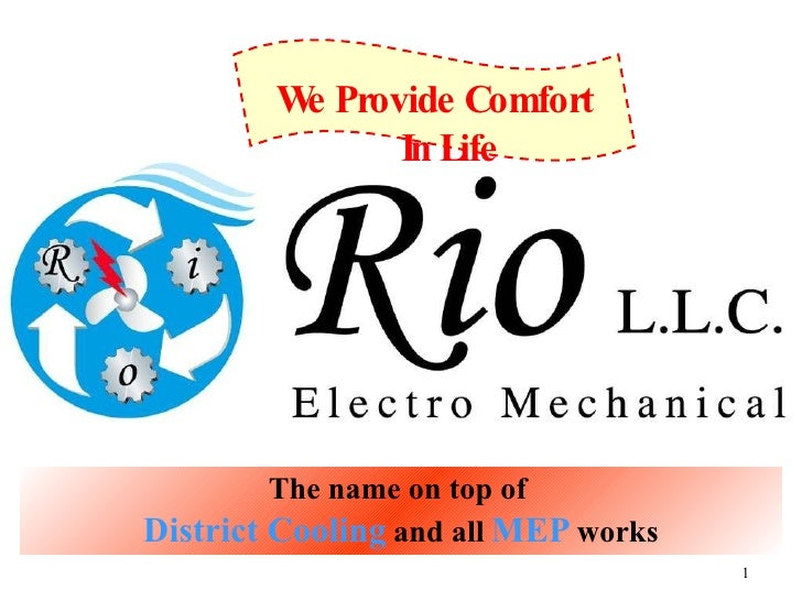 The name on top of   District Cooling   and all   MEP   works We Provide Comfort In Life