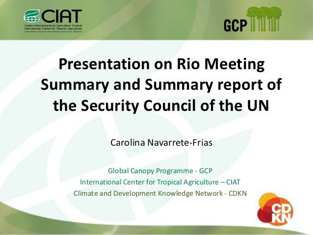 Presentation on Rio MeetingSummary and Summary report of the Security Council of the UN               Carolina Navarrete-F...