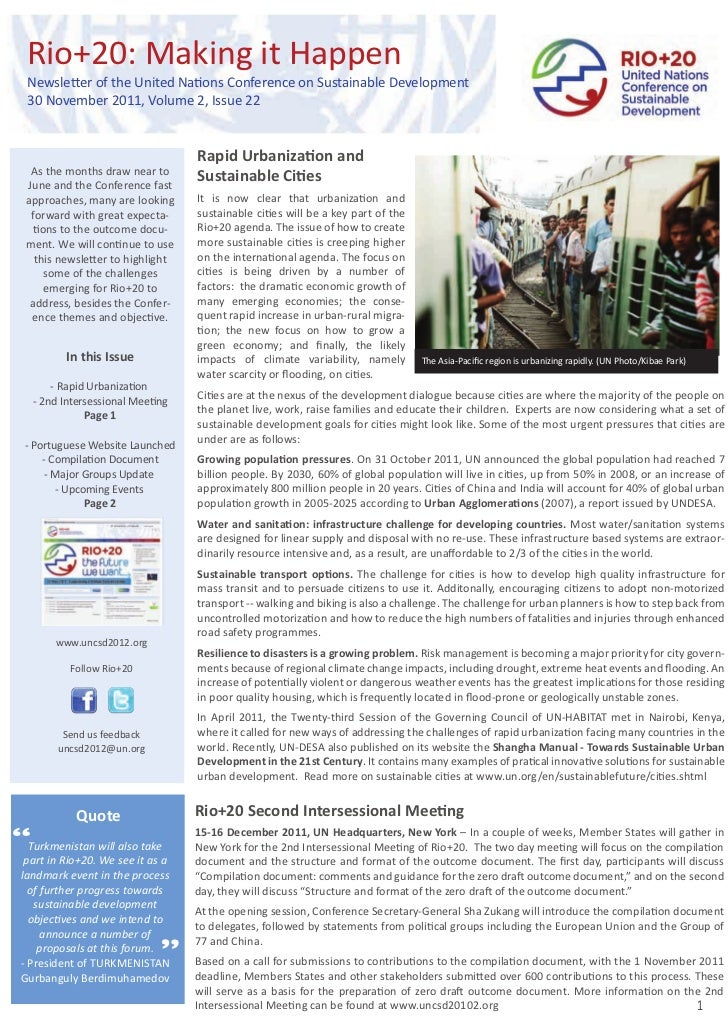 Rio+20: Making it Happen  Newsletter of the United Nations Conference on Sustainable Development  30 November 2011, Volume...