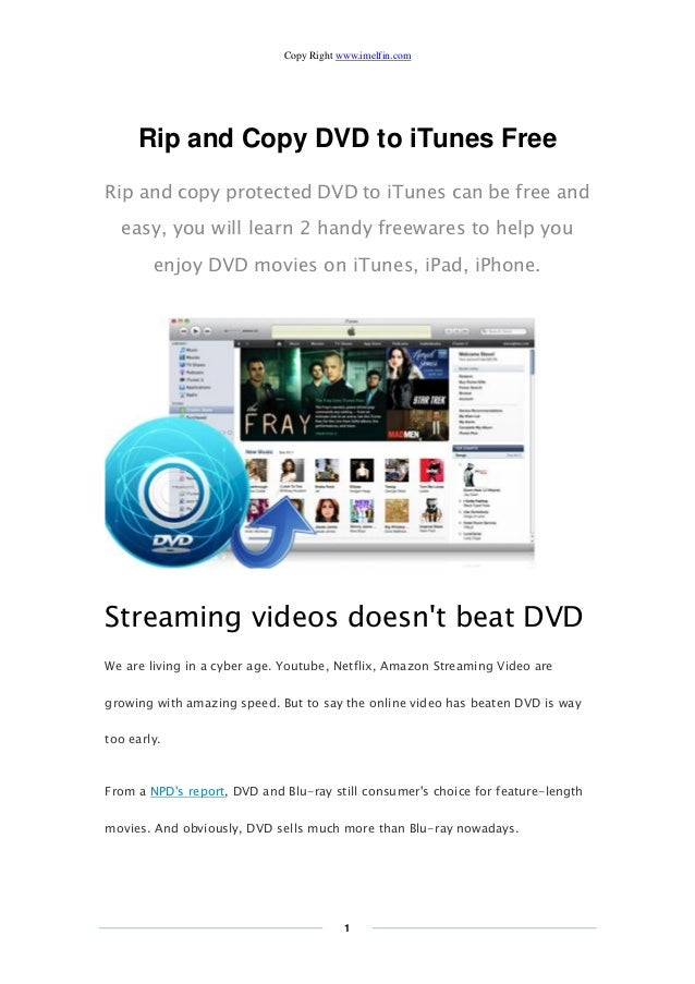 Rip and copy dvd to itunes free