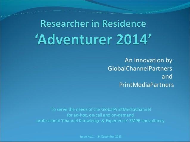 Researcher in Residence - Adventurer - Update 1