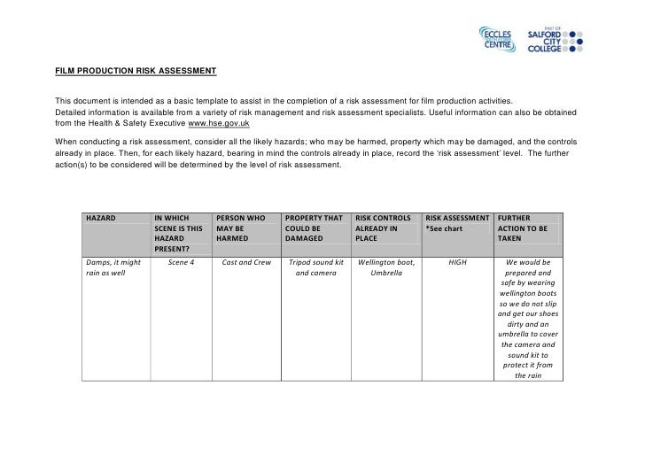 FILM PRODUCTION RISK ASSESSMENTThis document is intended as a basic template to assist in the completion of a risk assessm...