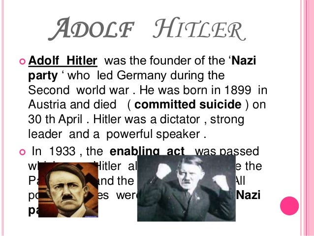 """an examination of the enabling act of adolf hitler Enabling act: enabling act, law passed by the german reichstag (diet) in 1933 that enabled adolf hitler to assume dictatorial powers deputies from the nazi party, the german national people's party, and the centre party voted in favour of the act, which """"enabled"""" hitler's government to issue decrees."""