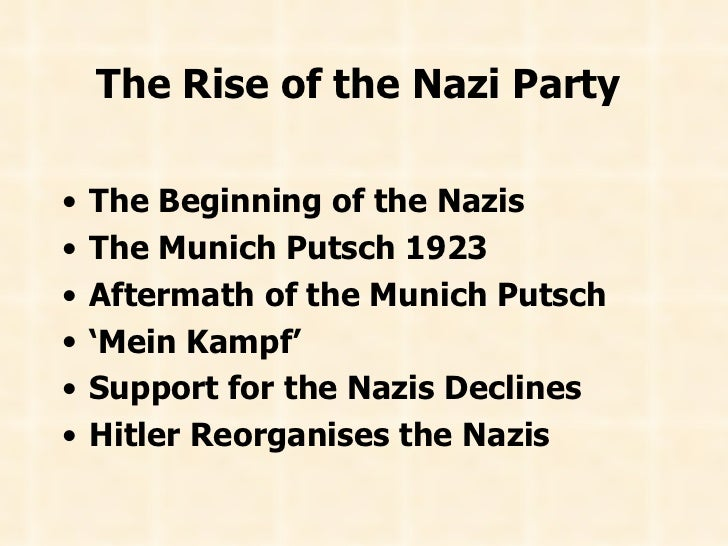 The Rise of the Nazi Party   <ul><li>The Beginning of the Nazis   </li></ul><ul><li>The Munich Putsch 1923   </li></ul><ul...