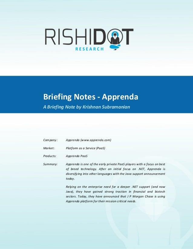Briefing Notes -‐ Apprenda               A Briefing Note By Krishnan Subramanian                   ...