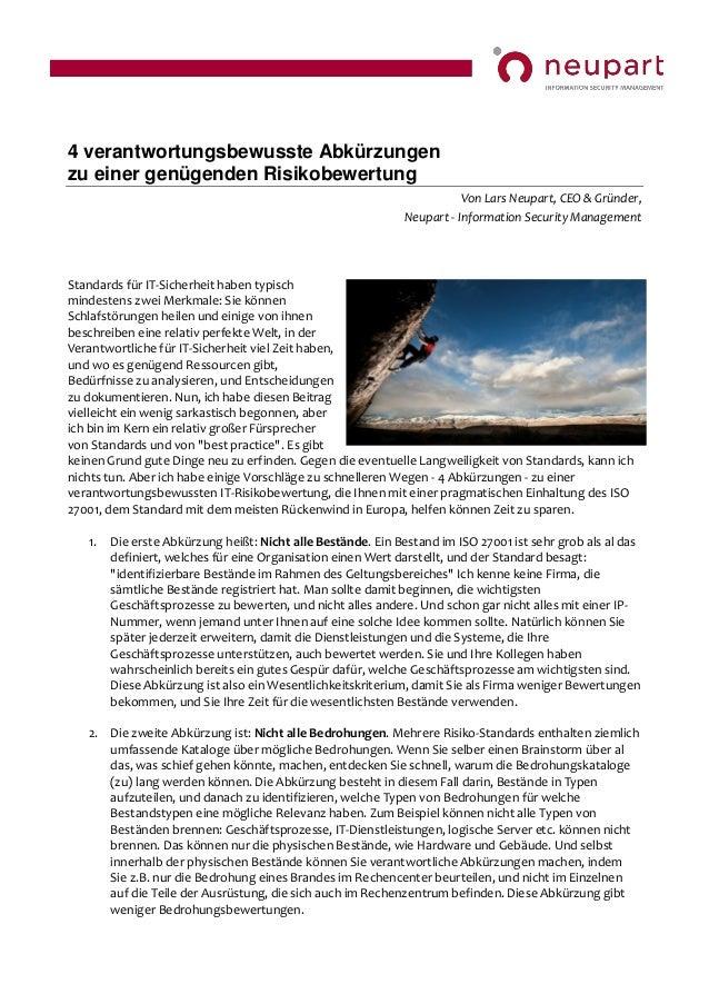 4 verantwortungsbewusste Abkürzungen zu einer genügenden Risikobewertung  Von Lars Neupart, CEO & Gründer, Neupart - Infor...
