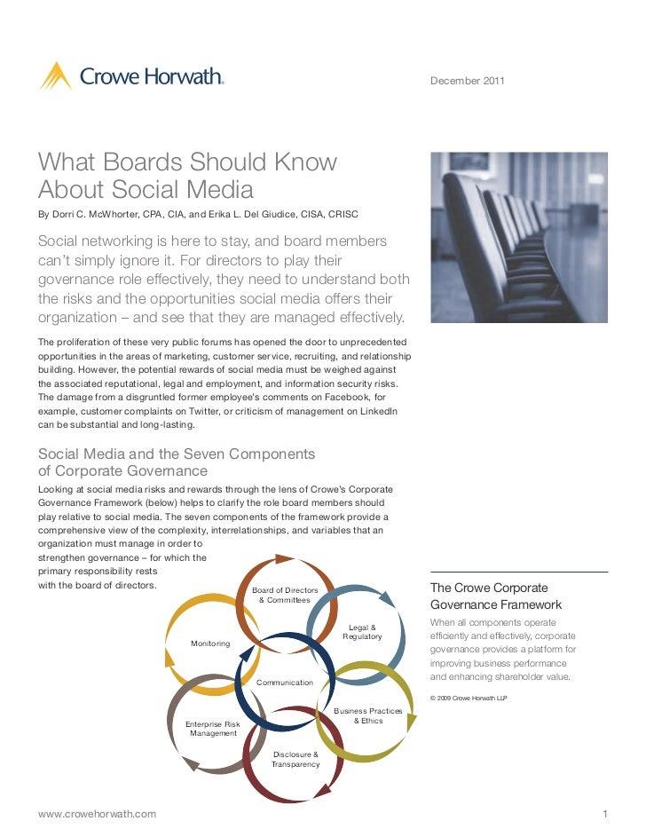 December 2011What Boards Should KnowAbout Social MediaBy Dorri C. McWhorter, CPA, CIA, and Erika L. Del Giudice, CISA, CRI...