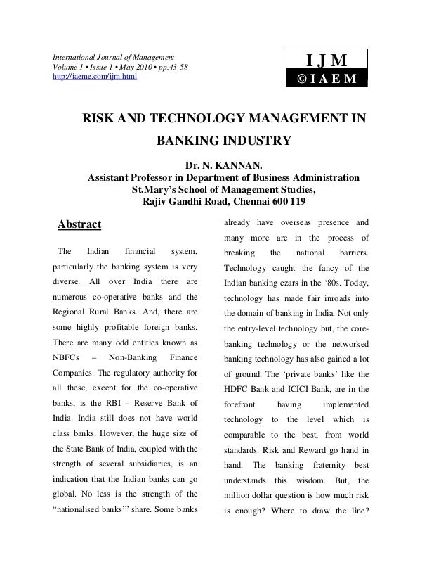 Risk and technology management in banking industry