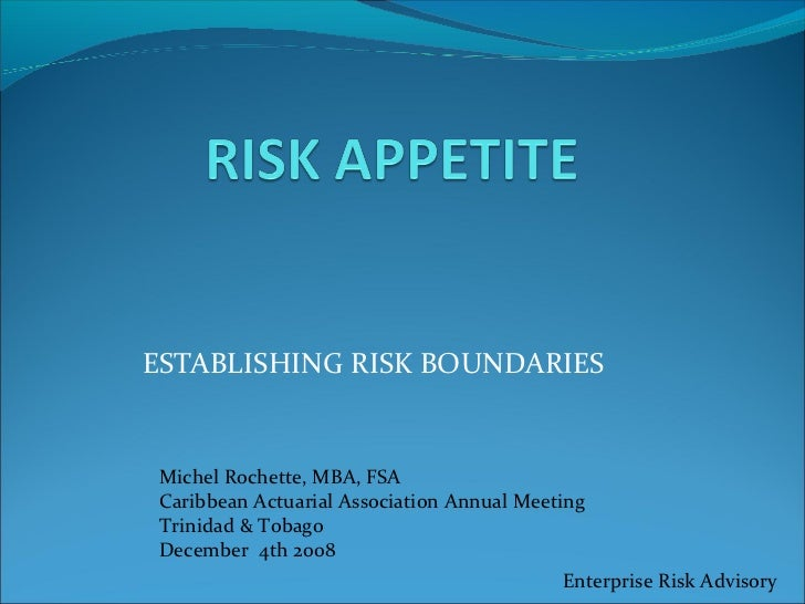 ESTABLISHING RISK BOUNDARIESMichel Rochette, MBA, FSACaribbean Actuarial Association Annual MeetingTrinidad & TobagoDecemb...
