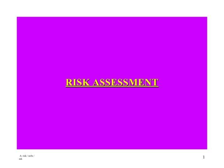 <ul><li>RISK ASSESSMENT </li></ul>