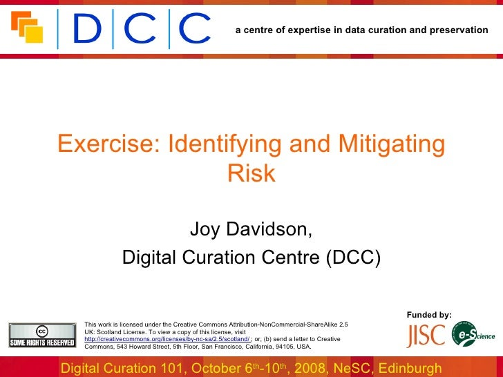 Exercise: Identifying and Mitigating Risk Joy Davidson, Digital Curation Centre (DCC)
