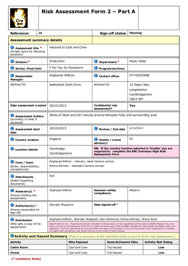 Risk Assessment Form 2 – Part A  Reference:  Sign-off status  2a  Planning  Assessment summary details Assessment title * ...