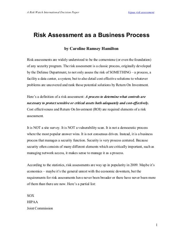 A Risk Watch International Decision Paper hipaa risk assessment Risk Assessment as a Business Process by Caroline Ramsey H...