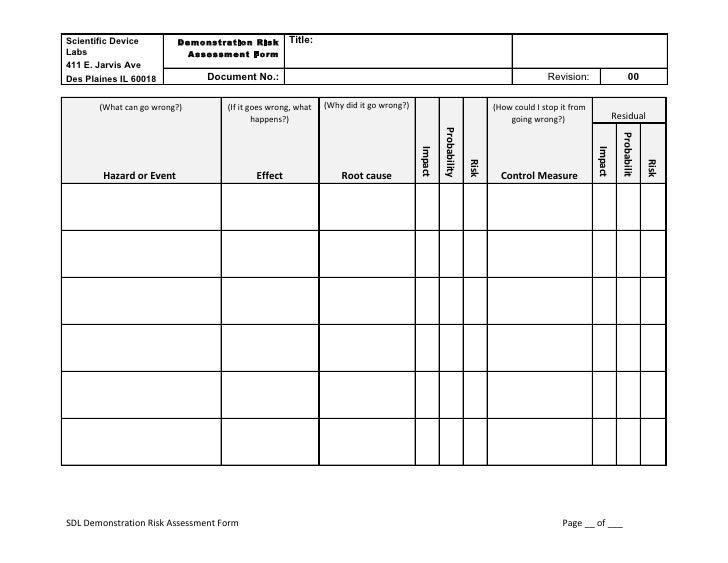Scientific Device         Demonstration Risk       Title: Labs                        Assessment Form 411 E. Jarvis Ave De...