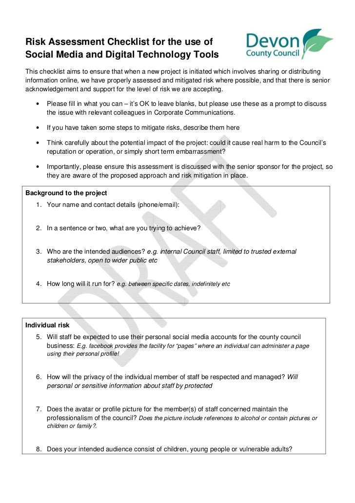 Risk Assessment Checklist for the use ofSocial Media and Digital Technology ToolsThis checklist aims to ensure that when a...