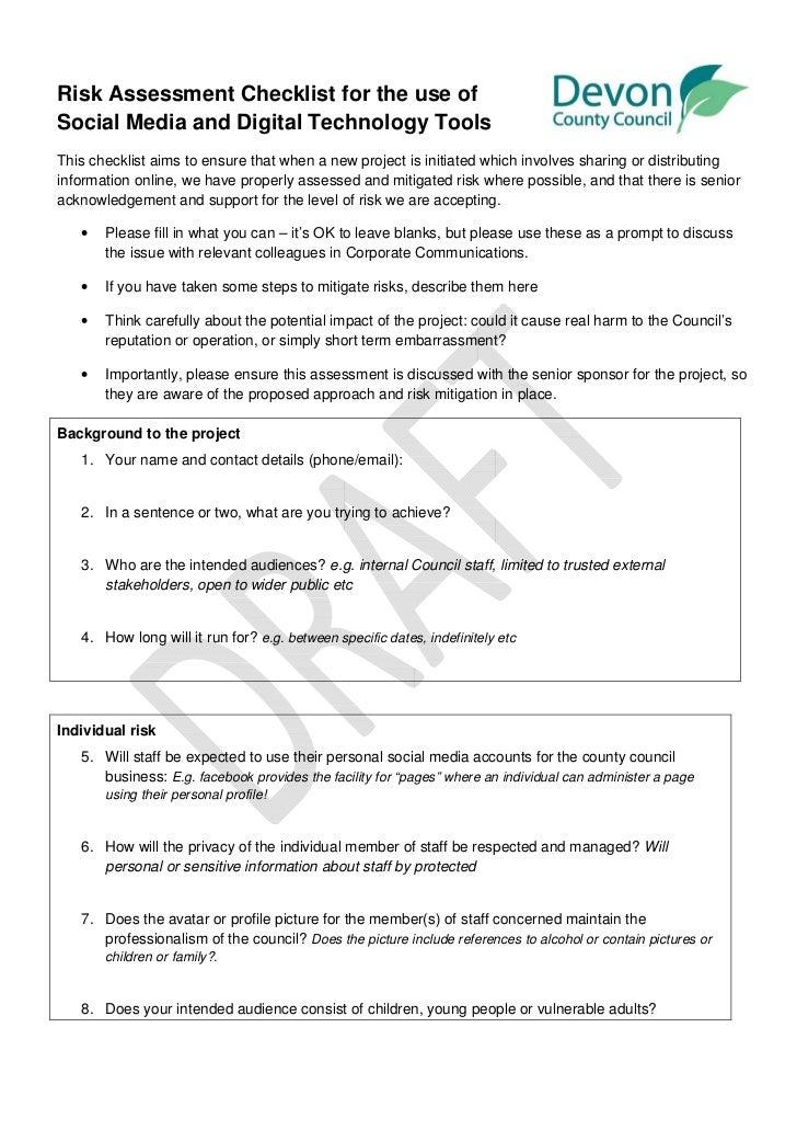 Devon County Council - Risk assessment for social media